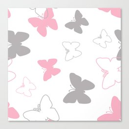 Pink Gray Butterfly Canvas Print