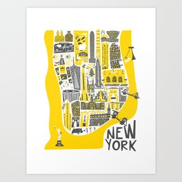 Manhattan New York Map Art Print