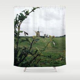 line of windmills Shower Curtain