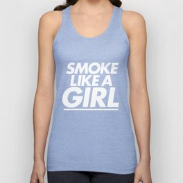 High - Smoke like a girl - White Unisex Tank Top
