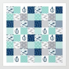 Nautical anchors sharks whales quilt cheater quilt nursery pattern art Art Print