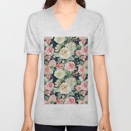 Country chic navy blue pink ivory watercolor floral Unisex V-Neck