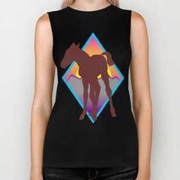 young colt silhouette at sunset Biker Tank
