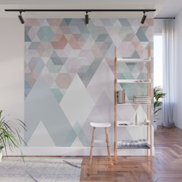 Pastel Graphic Winter Mountains on Geometry #abstractart Wall Mural