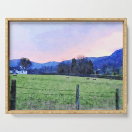 Sheep on the farm at Dawn in Grasmere,Lake District, UK Watercolour Painting Serving Tray