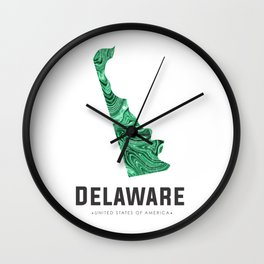 Delaware - State Map Art - Abstract Map - Green Wall Clock