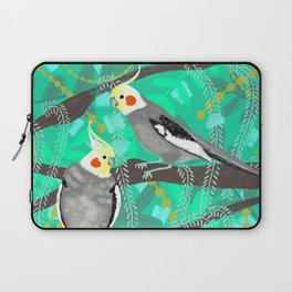Cockatiels in Green Laptop Sleeve