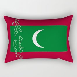 Maldives Flag with Map of the Maldive Islands Rectangular Pillow
