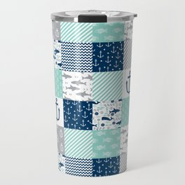 Nautical anchors sharks whales quilt cheater quilt nursery pattern art Travel Mug