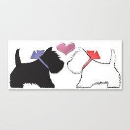 Black and White Westie Dogs Art Canvas Print