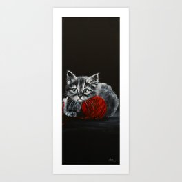 """""""CAT 2 piano composition"""", kitty, kitten, cat, painting, black and white, cute, sweet Art Print"""