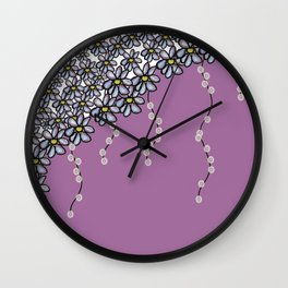 Over Flowers: Purple + Lights Wall Clock