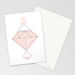 Tangram Diamond Linework Pink Stationery Cards