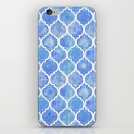 Cornflower Blue Moroccan Hand Painted Watercolor Pattern iPhone Skin
