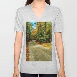 Dirt Road in Autumn Unisex V-Neck