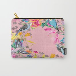 Stardust Pink Floral Birds Motif Carry-All Pouch