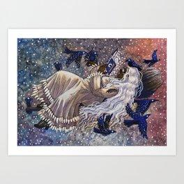 Flying Bluebird Witch Art Print