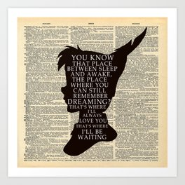Peter Pan Over Vintage Dictionary Page - That Place Art Print