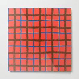 Red plaid, pool tiles pattern, tartan Metal Print