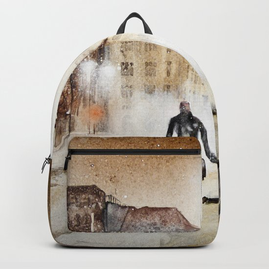 Britain's cold night in warm colors. Backpack