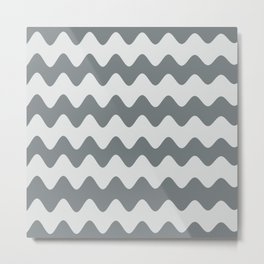 PPG's Night Watch Pewter Green Soft Zigzag Rippled Horizontal Line Pattern Metal Print