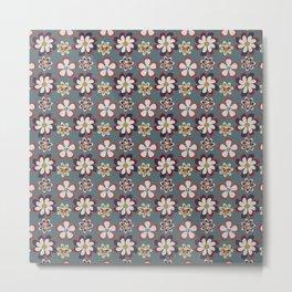vintage pink teal gray boho floral pattern Metal Print