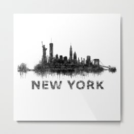 NY New York City Skyline NYC Black-White Watercolor art Metal Print