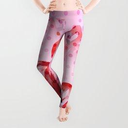 Watercolor Flamingo Pattern Leggings