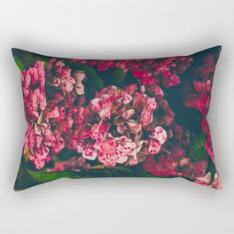 Christmas Hydrangea Red Floral Green Leaves Supple Flowers In The Garden Rectangular Pillow