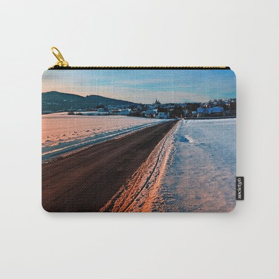 Winter road at sundown Carry-All Pouch