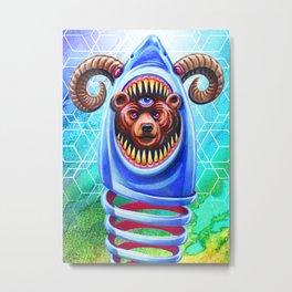 Shark Bear Ram Metal Print