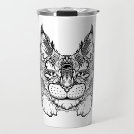 CAT maine coon  / LYNX head. psychedelic / zentangle style Travel Mug