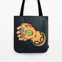 thanos Tote Bags featuring To Infinity And Beyond! by Remix Comix