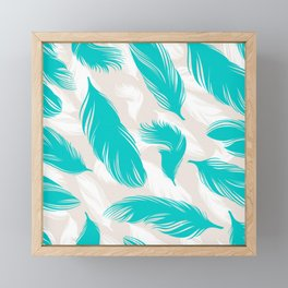 Turquoise Feathers Framed Mini Art Print