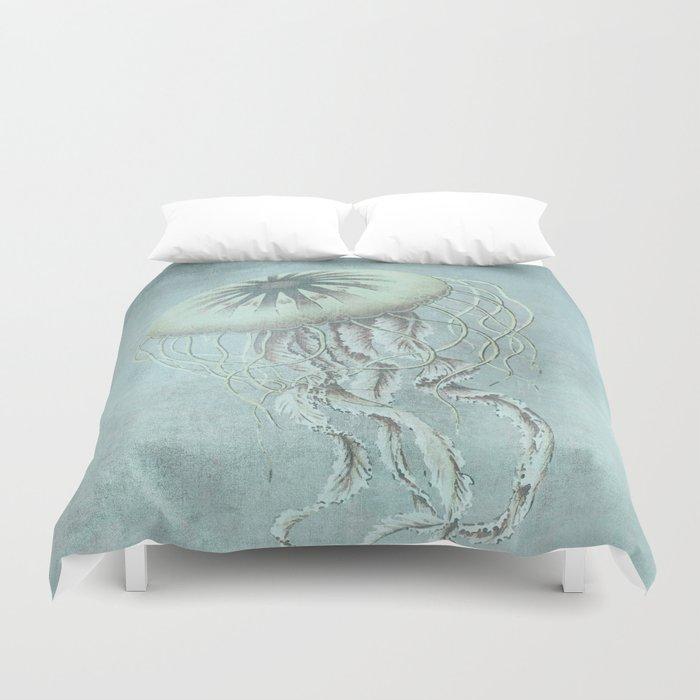 Jellyfish Underwater Aqua Turquoise Art Duvet Cover