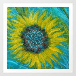 Sunflowers on Turquoise II Art Print
