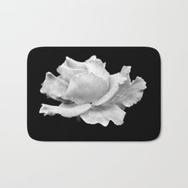 White Rose On Black Bath Mat