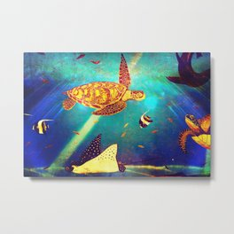 Beautiful Sea Turtles Under The Ocean Painting Metal Print