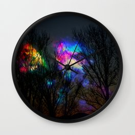 nebula in the naked trees Wall Clock