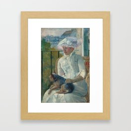 Young Girl at a Window Oil Painting by Mary Stevenson Cassatt Framed Art Print