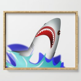 Shark attack wave danger dangerous Serving Tray