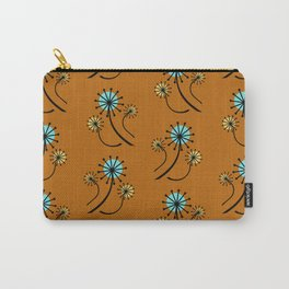 Mid Century Modern Dandelions on orange Carry-All Pouch
