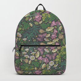 Pink hyacinth with chamomile and green hop on dark background Backpack
