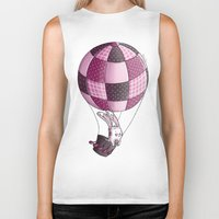 baloon Biker Tanks featuring Rabbit on pink baloon by My moony mom