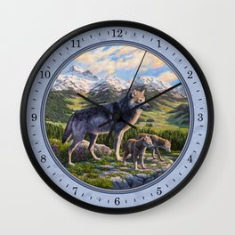 Mother Gray Wolf and Pups River Valley Wall Clock