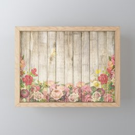 Vintage Rustic Romantic Roses Wooden Plank Framed Mini Art Print