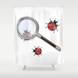 Magnifying glass and ladybird Shower Curtain