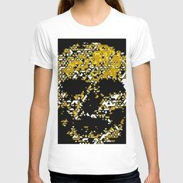 Geometric Mustard Yellow Skull Composed Of Triangles T-shirt