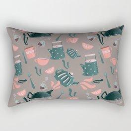 Tea pots and cups - pink green Rectangular Pillow