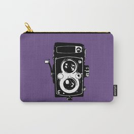 Big Vintage Camera Love - Black on Purple Background Carry-All Pouch